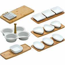 Set of 3 White Porcelain Snack Bowls On Bamboo Tray Serving Tapas Dishes Nuts