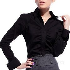 Business Office Womens Blouse Ladies Fitted Button Work Shirt