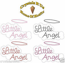 LITTLE ANGEL BUBLE IRON-ON RHINESTONE BLING KID PARTY GIFT TSHIRT TRANSFER PATCH