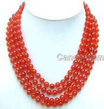 "SALE Luxury 8mm Round Red jade 4 Strands 18 to 22"" necklace -nec5181 free ship"