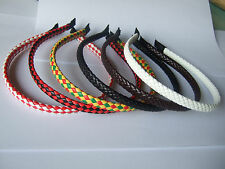 Lot 1-10pcs 9mm Flat Faux Leather Wrapped Metal HEADBAND HAIR BAND ACCESSORY