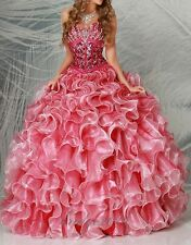 Hot Sale Beaded Quinceanera Dresses Ball Gown Prom Pageant Dress Size Custom