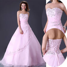 Sweetheart Strapless Wedding Dress Bridal Bride A-Line Gown Organza Long Dresses