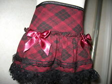 Girls Cool ,Retro,punk,goth,Black,Burgundy Red,Check lace Frilly,Party Skirt