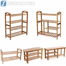 Songmics Natural Bamboo Shoe Rack Shoes Cabinet Bench Stand Storage Organizer