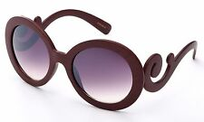 Wood Finish Texture Baroque Swirl Design Women Sunglasses Round Oversize Lens