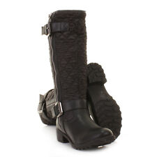Womens Black Knee High Quilted Ladies Biker Style Zip Winter Boots Size 3-8