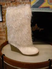 Joan Boyce Ivory Shaggy Metallic Fur Wedge Boots NEW