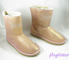GUESS KIDS Big Girl's Hanover Pink Sparkle Suede Logo Boots New in Box