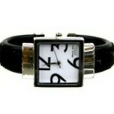 Women's Cuff Fashion Watch by Geneva Square Face Silver Tone Black Sequins