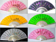 Embroidered Wedding Party Fabric Hand Held Folding Peacock Dragon Hand Fan #A