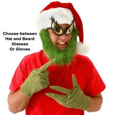 Adult Christmas Dr. Seuss The Grinch Costume Santa Hat & Beard Glasses or Gloves
