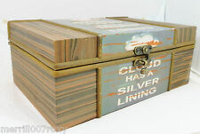WOODEN *EVERY CLOUD HAS A SILVER LINING *JEWELLERY GIFT STORAGE BOX LG / SM