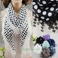 Womens Fashion Scarves Polka Dots Print Trim Tassel Lace Soft Triangle Scarf New