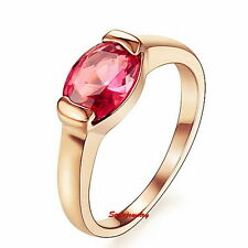 18k Rose Gold Plated Swarovski Crystal Ruby Engagement Ring Wedding Band R37