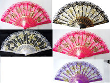 5x Lot Quinceanera Wedding Party Lace Hand Hand Folding Floral Flower Summer Fan