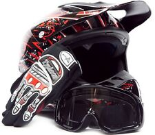 Adult Motocross Helmet with gloves and goggles Red Blk dirt bike MX Off Road ATV