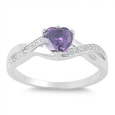 Sterling Silver Ring - Heart Shaped Amethyst CZ Stone - RC104863-AM