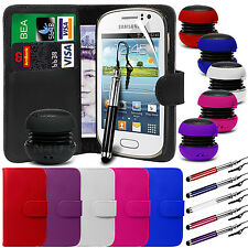 PU Leather Wallet Case Cover, Film, Pen & Speaker for Samsung Galaxy Fame S6810