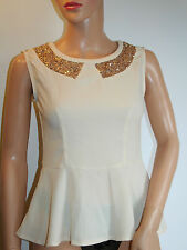Cream Sequined top Size 8
