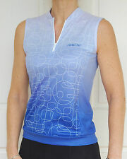 Womans Cycling Bike Jersey Sports Golf Top sleeveless Blue/white
