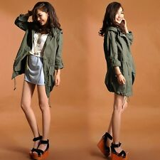New Women's Zip Hoodie Drawstring Military Trench Outwear Jacket Coat Parka J