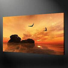 SEA SUNSET ABSTRACT QUALITY CANVAS PRINT PICTURE  WALL ART DESIGN FREE UK P&P