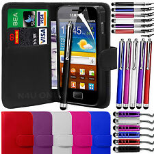 PU Leather Wallet Case Cover, LCD Film & 3 Pens for Samsung Galaxy Ace S5830
