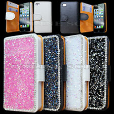 New Luxury Leather Bling Crystal Diamond Sparkle Wallet Case For Mobile Phones