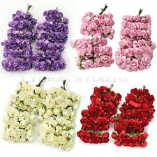 144X Mini Chic Beautiful Artificial Paper Rose Flower Wedding Card Embellishment