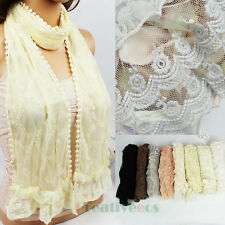 Fashion Women' Delicate Embroidered Floral Lace Ruffle Mini Trim Scarf Shawl