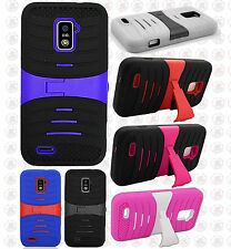 Boost Mobile Warp 4G ZTE N9510 HYBRID Hard Gel Rubber KICKSTAND Case Phone Cover