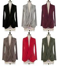 Sophisticated Low Cross Over Front Wrap Draped Long Sleeved Sweater Top S M L