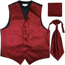 New Men's Horizontal Stripes Tuxedo Vest Waistcoat & Ascot & Hankie Set Burgundy