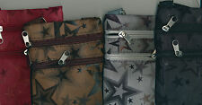 "SHOULDER HAND MESSENGER SIDE PURSE 6""h 4 1/2"" w 2 zipper pockets 20-9 1/2"" drop"