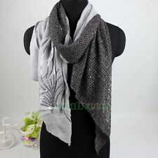 Fashion Stylish Women's Sequins Leaf Nets Stitching Long Scarf Shawl Wrap Stole