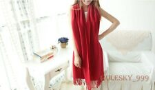 Womens Wool Tassels Solid Warm Winter Pashmina Stole Long Soft Scarf Shawl Wrap