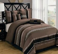 11pc Coffee/Chocolate Striped Comforter & Sheet Set Full Queen King Cal King