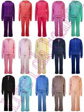 Childrens Velour Tracksuits Kids Hoodys Joggers Full Set Girls Play Dance Wear