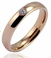 Rose Gold Plated Tungsten Carbide CZ Wedding Band Ring 4mm