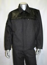 Men's Davoucci Black Denim Jacket with Pony Hair 100% Cotton(Pants#400611459126)