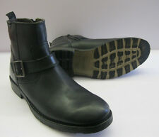 Base London Mens Ankle Boots Cavalry Waxy Black Leather Side Buckle Size 7- 12