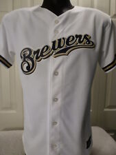 BOYS Youth Licensed Majestic MILWAUKEE BREWERS Baseball Jersey White NEW XL