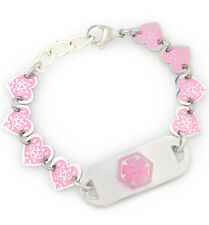 Medical ID Stainless Pink Heart Bracelet with Tag -Diabetes-Coumadin-Engrave