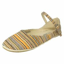 SALE Ladies spot on orange striped textile shoes with ankle strap F2187