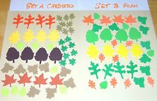 LOT OF 48 ASSTD SIZE/COLOR LEAVES CUT FROM SIZZIX DIES CHOOSE CARDSTOCK OR FOAM