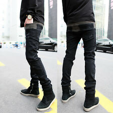 Men Thicken Winter Warm Stretchy Jeans Splicing Pencil Feet Pants Denim Trousers