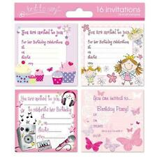 16 x Girls Childrens Birthday Invite Party Invitations.. Fairy Butterfly Cupcake