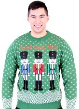 Adult Green Tacky Ugly Christmas Sweater Crack Deez Nuts Nutcrackers Snow Flakes