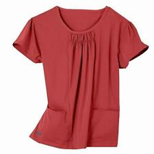 IguanaMed Women's Shirred Jewel Tamarillo 2-pocket Top